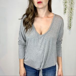 CHASER long sleeve gray top tie front jersey 1140